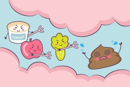 alimentary: Cute cartoon yogurt , apple fruit and vegetable with poop in the intestine - great for health care concept Illustration