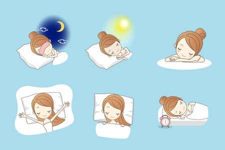 wellness sleepy: Cartoon young beauty woman sleep on bed, great for your design