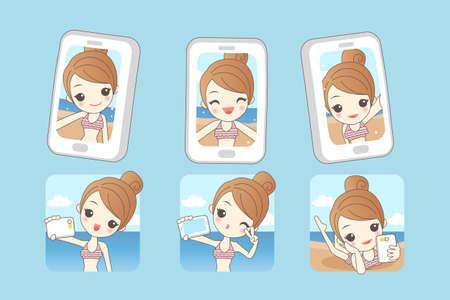 caricatura: De dibujos animados mujer joven sonrisa toma autofoto por teléfono inteligente con el fondo de la playa del verano, la belleza Vectores