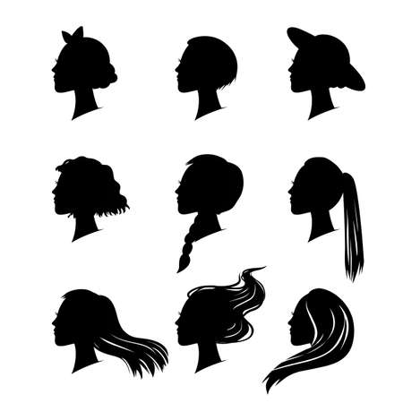 hair styling: set of woman silhouette with hair styling Illustration