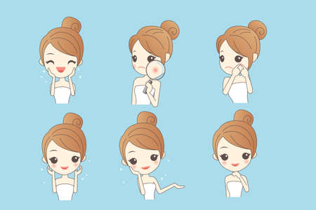 asian cartoon: cartoon skin care woman with various expression and face skin problem - young woman with a acne and magnifying glass check it, beauty Illustration
