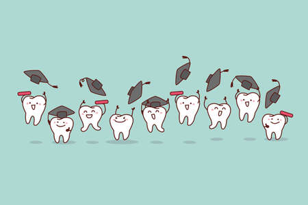 classmate: Happy cartoon graduate tooth jump and run, great for health dental care concept