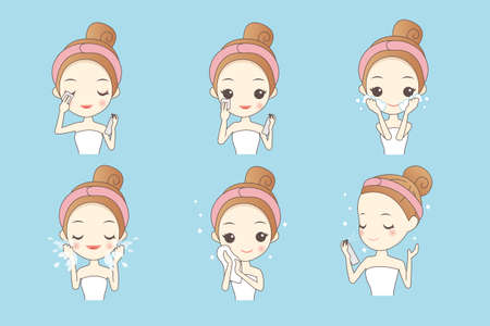 face wash: cartoon girl cleaning and care face, Healthy Lifestyle Concept