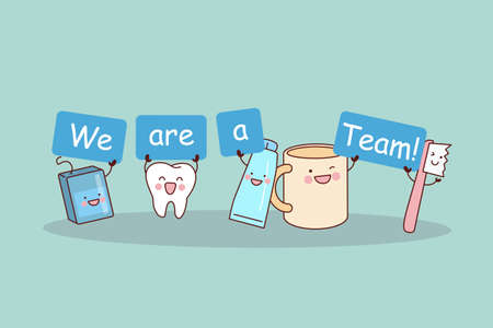 tooth paste: We are a team - cute cartoon tooth with floss, brush and tooth paste, great for health dental care concept