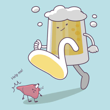 cancer foot: cute cartoon giant beer step on liver, great for Health care concept