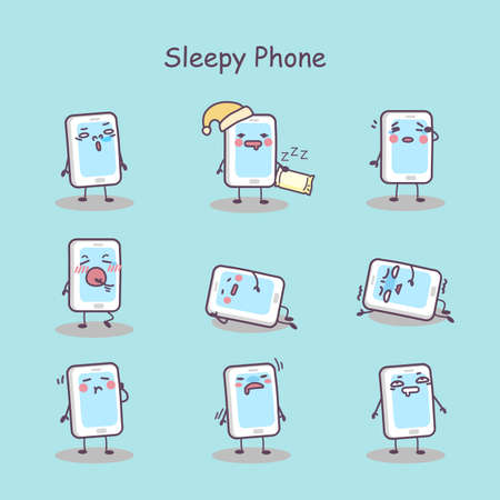 caricatura: conjunto de dibujos animados teléfono inteligente con sueño, por su gran diseño