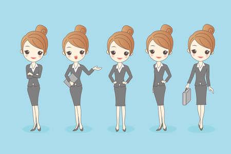caricatura: mujer de negocios conjunto de dibujos animados, por su gran diseño