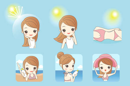 caricature: cartoon beautiful woman with sunshine and blue sky, concept for skin care and sun block, asian beauty