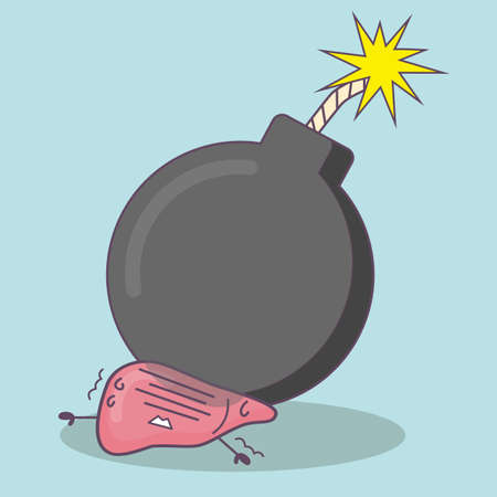 cartoon bomb: cartoon liver with bomb, great for health care concept
