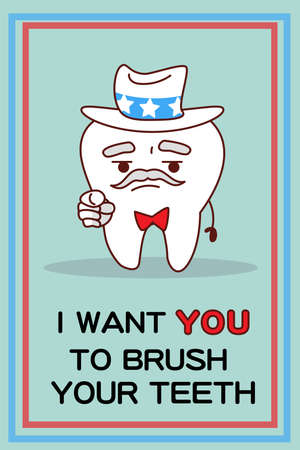 i want you: I want you to brush your teeth - cartoon tooth pointing to you, great for health dental care concept Illustration