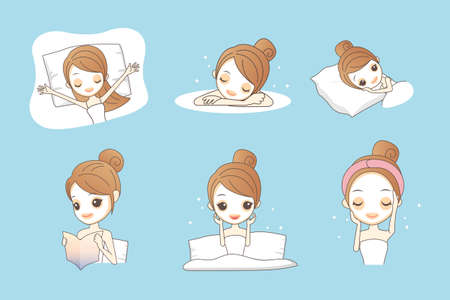 sleeping girl: cartoon girl care her face with mask, facial, beauty