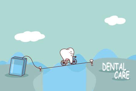 monta�as caricatura: diente de la historieta con hilo dental, gran concepto de cuidado dental