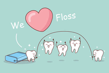 medical heart: We love floss - cartoon tooth with floss, great for dental care concept Illustration