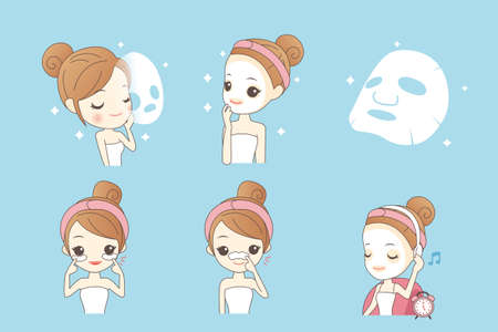 exfoliation: cartoon girl care her face with mask, facial, beauty