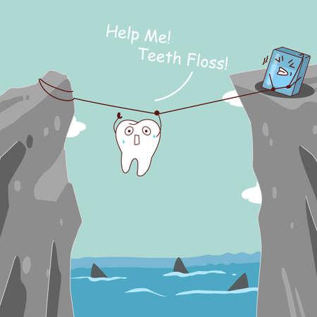 monta�as caricatura: los dientes de dibujos animados lindo con hilo dental, los dientes use hilo dental los dientes ayudando a evitar el peligro