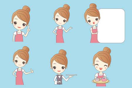 asian cartoon: Cartoon beautiful young woman is a waitress