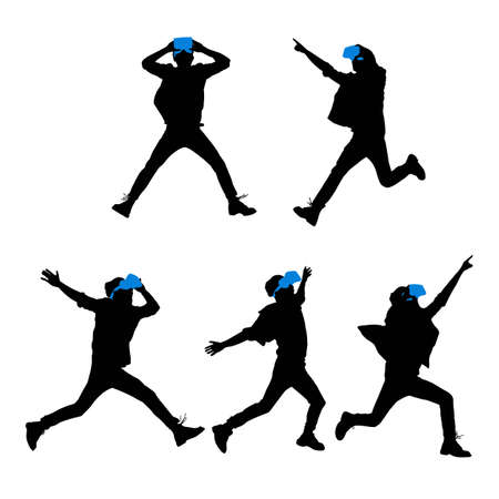 full length: Silhouette of happy man getting experience using VR-headset glasses of virtual reality, full length