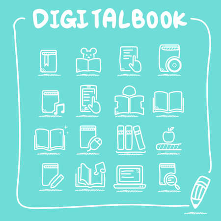 digital book: Digital Book icon set - doodle Series