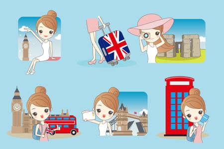 caricature: Cartoon happy woman travel in London, United Kingdom, England