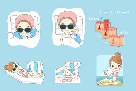 removal: Cartoon woman receiving laser hair removal epilation treatment