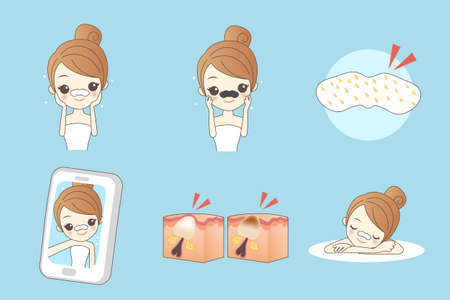 cartoon nose: cartoon woman care her face with mask on the nose For remove Blackheads, facial, beauty Illustration