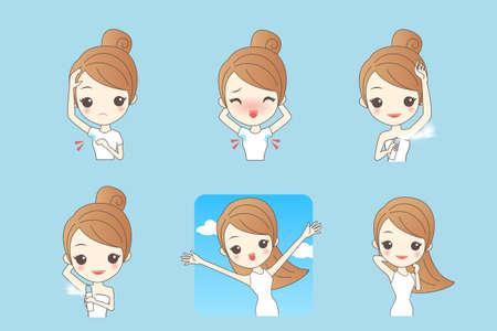body skin: Cartoon beautiful young woman applying deodorant on underarm Illustration