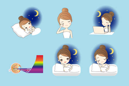 smart girl: cartoon girl use smart phone, digital tablet pc and computer at night, and her eyes feel uncomfortable, Health Eye Care concept