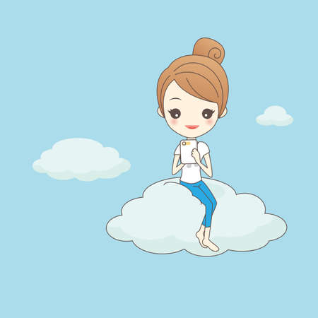 smart girl: cartoon girl use smart phone on cloud, technology cloud computing concept