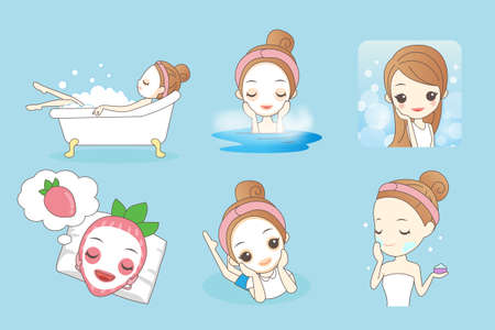 lying in bathtub: Cartoon beautiful young woman enjoy bath and care her face at home, beauty