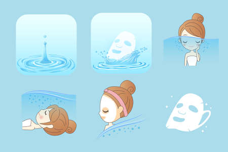 beauty skin: Beauty Skin care concept, Beautiful woman face with Water splashes Illustration