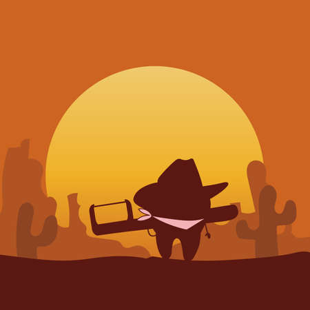 floss: Silhouette of cartoon cowboy tooth with dental floss, great for health dental care concept