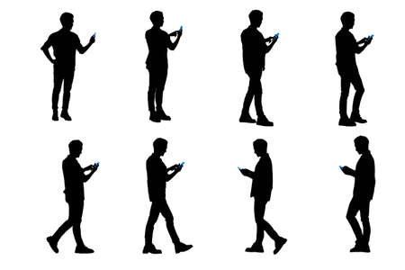 smart man: silhouette of man use smart phone and he is walking Illustration