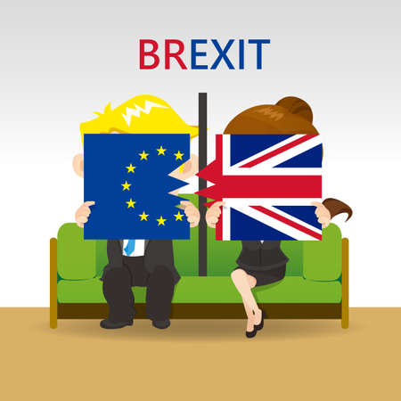 remain: Cartoon Brexit concept - young couple holding split United Kingdom flag and EU flag