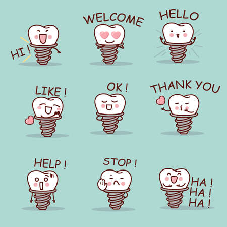 ha: cute cartoon implant tooth set with all kind of emoji, great for your design