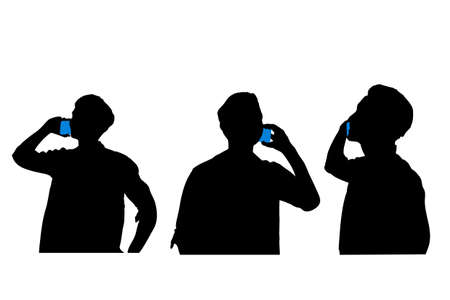 smart man: silhouette of man talking on smart phone with white background