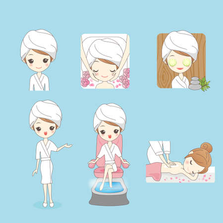 young woman legs up: Cartoon beautiful young woman enjoy massage at spa with roses, beauty Illustration