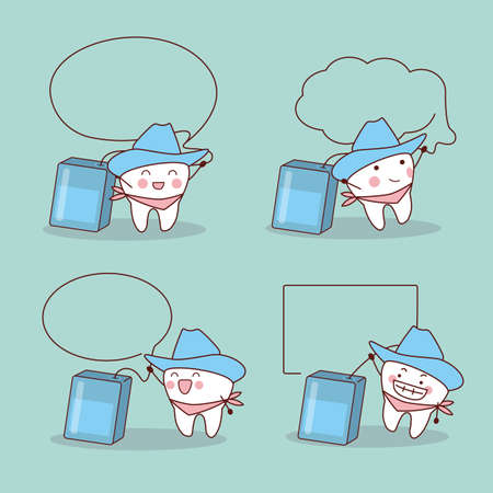 comunicacion oral: cartoon cowboy tooth with dental floss and speech bubble, great for health dental care concept