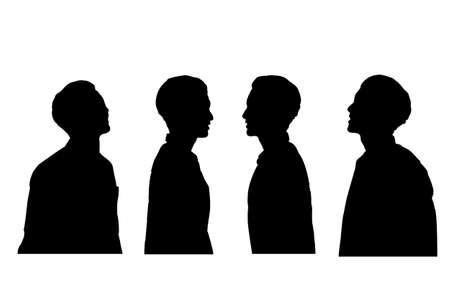 man profile: silhouette of man profile with white background