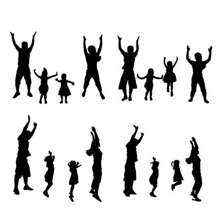 father of the bride: silhouette of family jump up with white background, great for your design