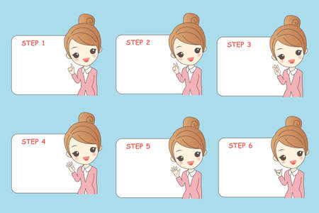 introduction: businesswoman do something different actions and  Introduction someting Illustration