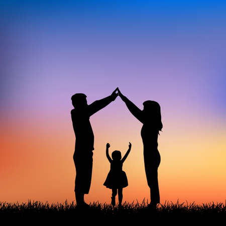 father of the bride: silhouette of family with sunset background , great for your design