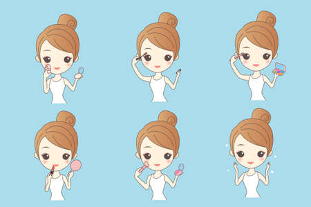 make up face: Cartoon woman make up and care face, Healthy Lifestyle Concept