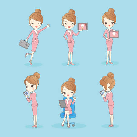 business woman with tablet: Business woman look happily and show tablet pc