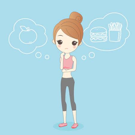 liposuction: cartoon healthy girl thinking eat apple or Hamburger