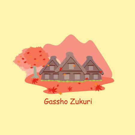 gassho zukuri: Gassho zukuri and maple in the autumn Illustration