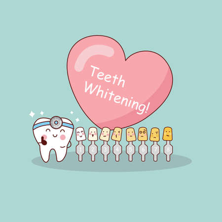whitening: Happy cartoon tooth and dentist with love heart and whitening and bleaching tool