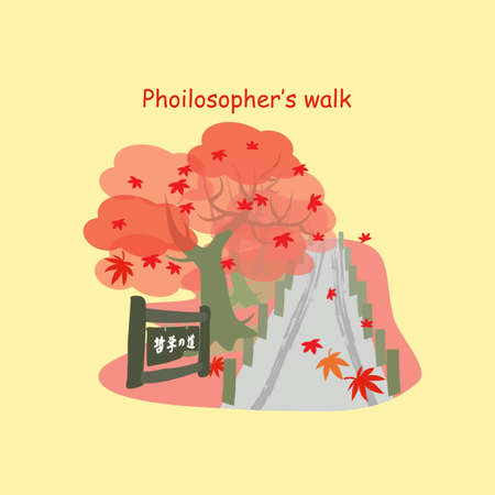 philosopher: Philosopher Way with maple in the autumn at Kyoto, Philosopher Way on left below in Japanese words