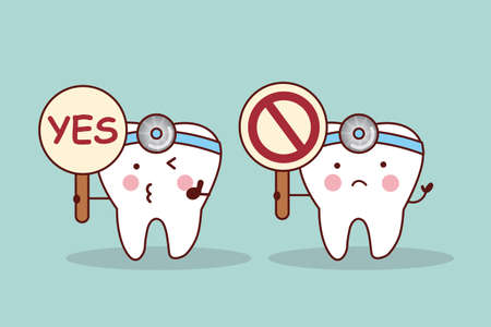 yes or no: Happy cartoon tooth and dentist take yes or no billboard Illustration
