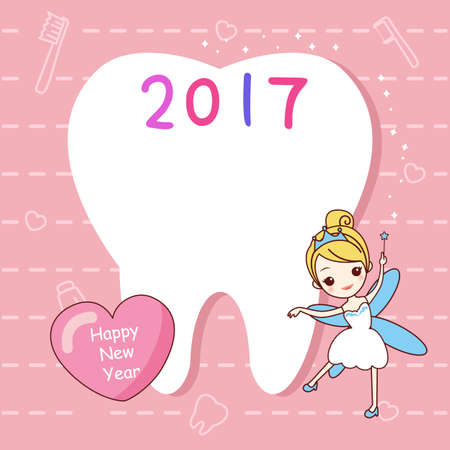 butterfly myth: cute cartoon tooth note with tooth fairy