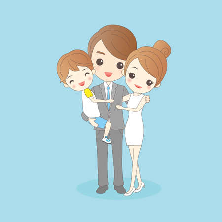 man full body: Father holding child with mother amd smile to you